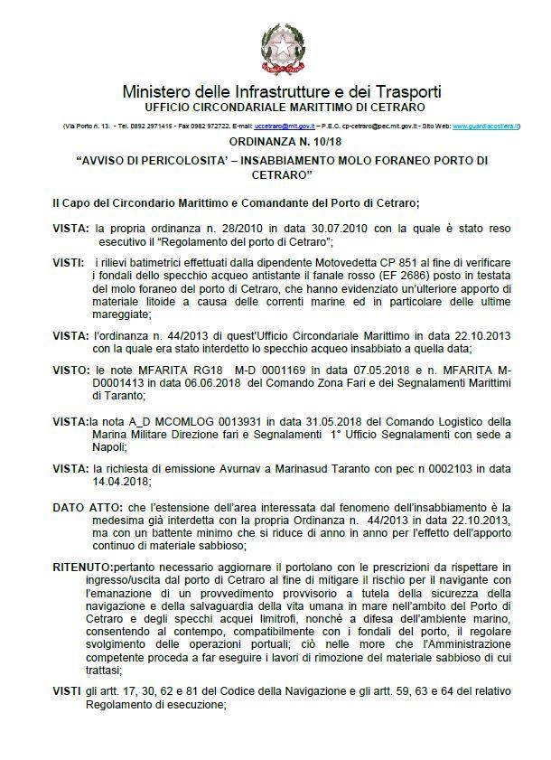 Ordinanza N. 10/18